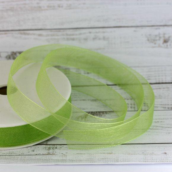 Green Organza Ribbon, 15mm x 25m, Full Reel Organza Ribbon £3.30