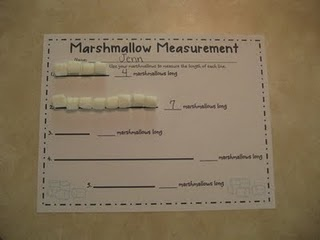 Practice nonstandard measurement with marshmallows. A lesson and a snack...pretty darn cool in my kids' book. :)