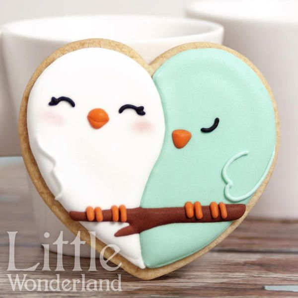 Love birds cookies #cookie #decoration #birds