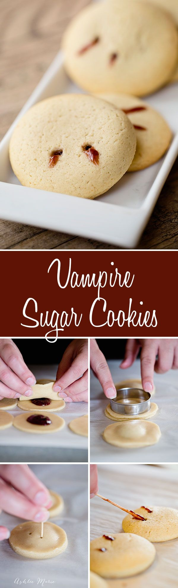 an easy and simple halloween treat, these jelly filled vampire bite sugar cookies are easy, fun and delicious (Easy Desserts Halloween)