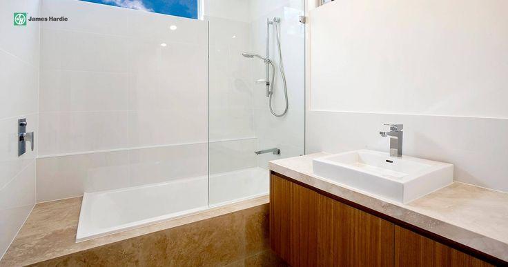 Mixed materials just work #tiles #fibrecement #timber #vanity #bath #bathroom #jameshardie #interior #kitchen #coastal #australia #linea #weatherboard #contemporary