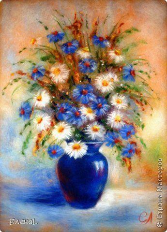 Картина панно рисунок Валяние фильцевание Картина из шерсти Полевые цветы Шерсть фото 6