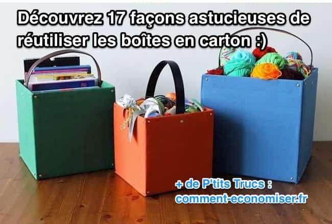 Tous les achats sur Internet sont livrés dans des emballages en carton. Résultat, on se retrouve avec des cartons vides dont on ne sait pas quoi faire...  Découvrez l'astuce ici : http://www.comment-economiser.fr/17-facons-astucieuses-de-reutiliser-les-boites-en-carton.html?utm_content=buffer8b82f&utm_medium=social&utm_source=pinterest.com&utm_campaign=buffer