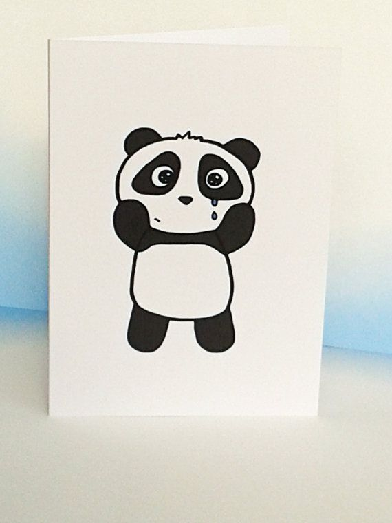 Sorry Card  Cute Panda Card  Miss You by penguinparadeshop on Etsy