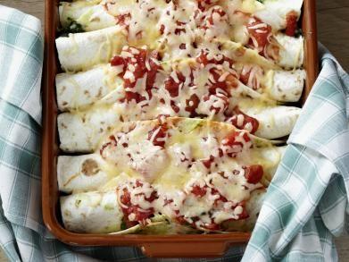 Tortillarolletjes met spinazie