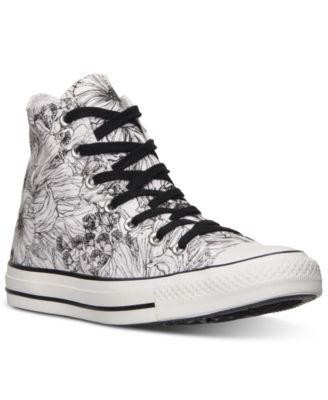 Converse Women's Chuck Taylor Hi Top Casual Sneakers from Finish Line canvas white/black sz7 49.98