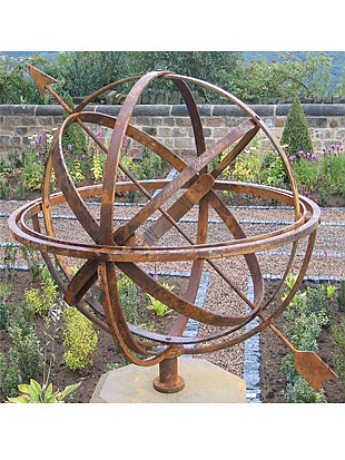 Used as early as ancient Greece to calculate movements of the moon & stars this wrought iron armillary garden sculpture is marked with roman numerals and made right here in the UK… all you need to do now is gen up on your celestial bodies!