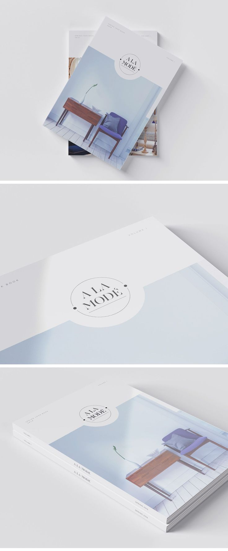 A La Mode is a contemporary home interiors company inspired by mid century modern furniture. The minimal magazine cover layout  was produced as a mock up for the client. It will form the branding guidelines package which includes typography choices, colour palette, editorial layouts and photography styling. Template available for download at: https://creativemarket.com/areto-studio/1653514-A-La-Mode-MagazineBrochure-Template