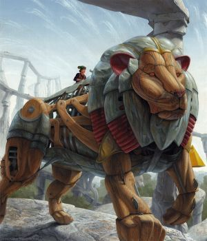 Pedal Giant Animals: Bali Nahoo Rides the Giant Lion  This image was created for musician Frank Wyatt of the brilliant...