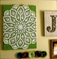I have a beautiful crocheted table cloth from my Grandmother; what a great way to display it. I might attach it to the back board with pins, though.