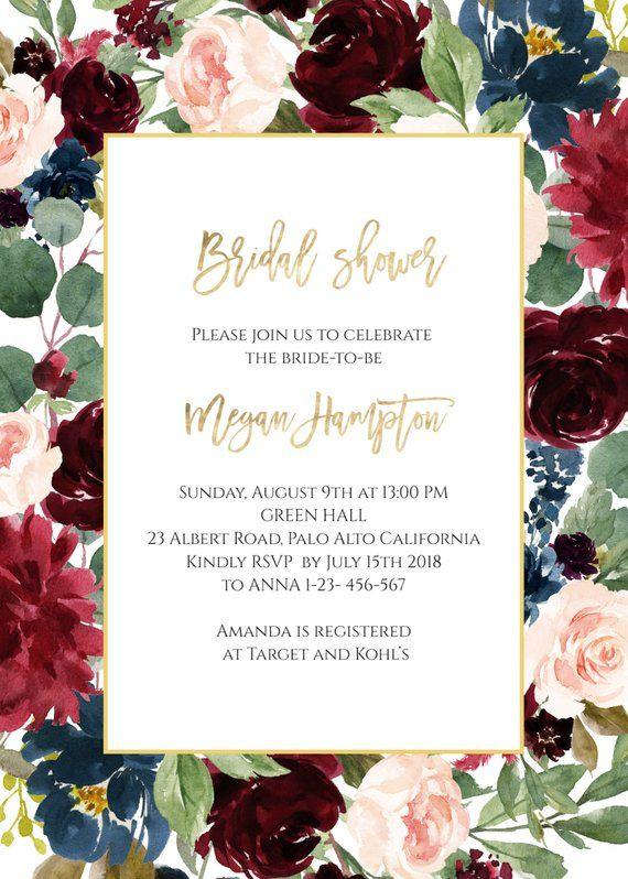 Burgundy Bridal Shower Invite Floral Bridal Invite Bridal Shower Invitation INSTANT DOWNLOAD e218 Editable Bridesmaids Luncheon Invite