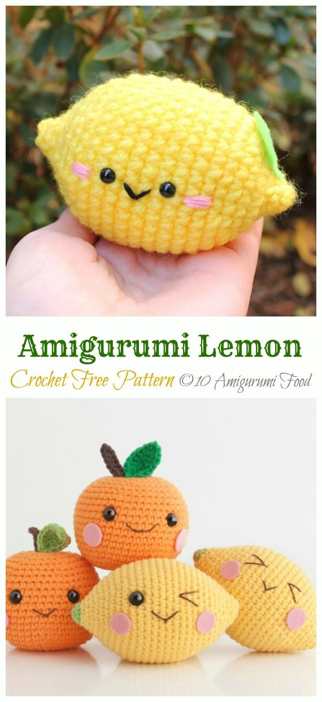Crochet Amigurumi Fruits Free Patterns | Crochet fruit, Crochet ... | 1240x570