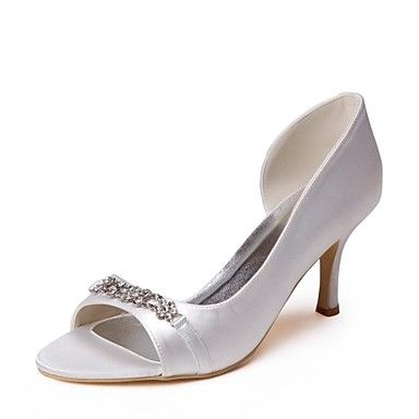 Satin Women's Wedding Stiletto Heel Open Toe Pumps with Rhinestone Shoes(More Colors) – AUD $ 48.87