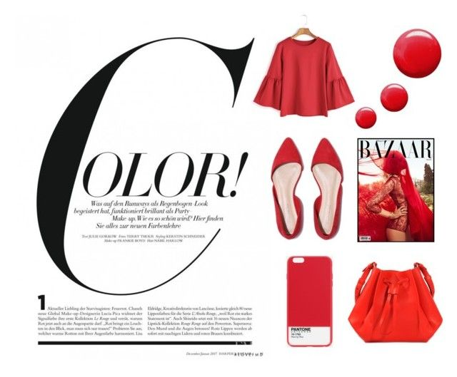 """RED COLOR ALERT"" by linisecheverri on Polyvore featuring Maison Margiela, Case Scenario and Topshop"