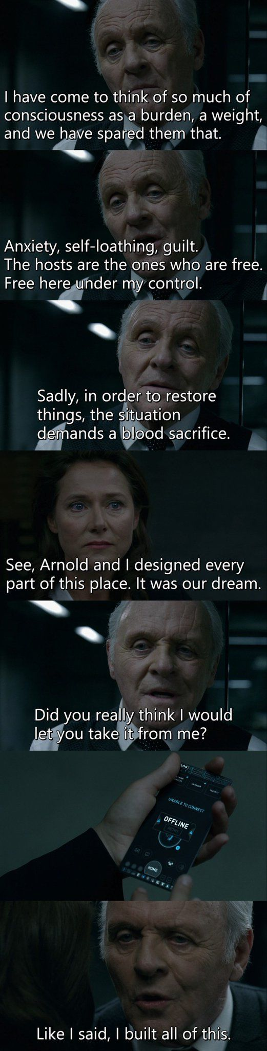 """""""Arnold and I designed every part of this place. It was our dream. Did you really think I would let you take it from me?"""" - Dr. Ford and Theresa #Westworld"""