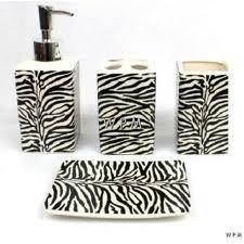 Zebra Print Bathroom Counter Set