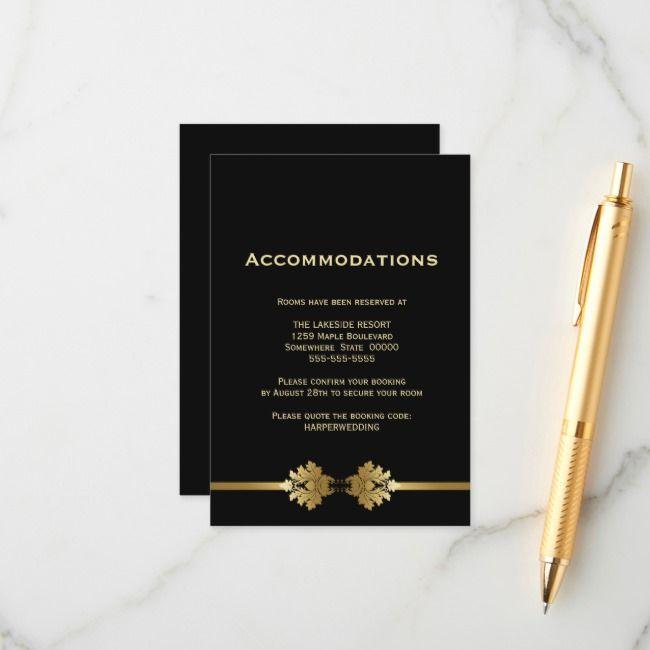 Modern Black Gold Wedding Accommodations Enclosure Card Zazzle Com Wedding Accommodations Black Gold Wedding Enclosure Cards
