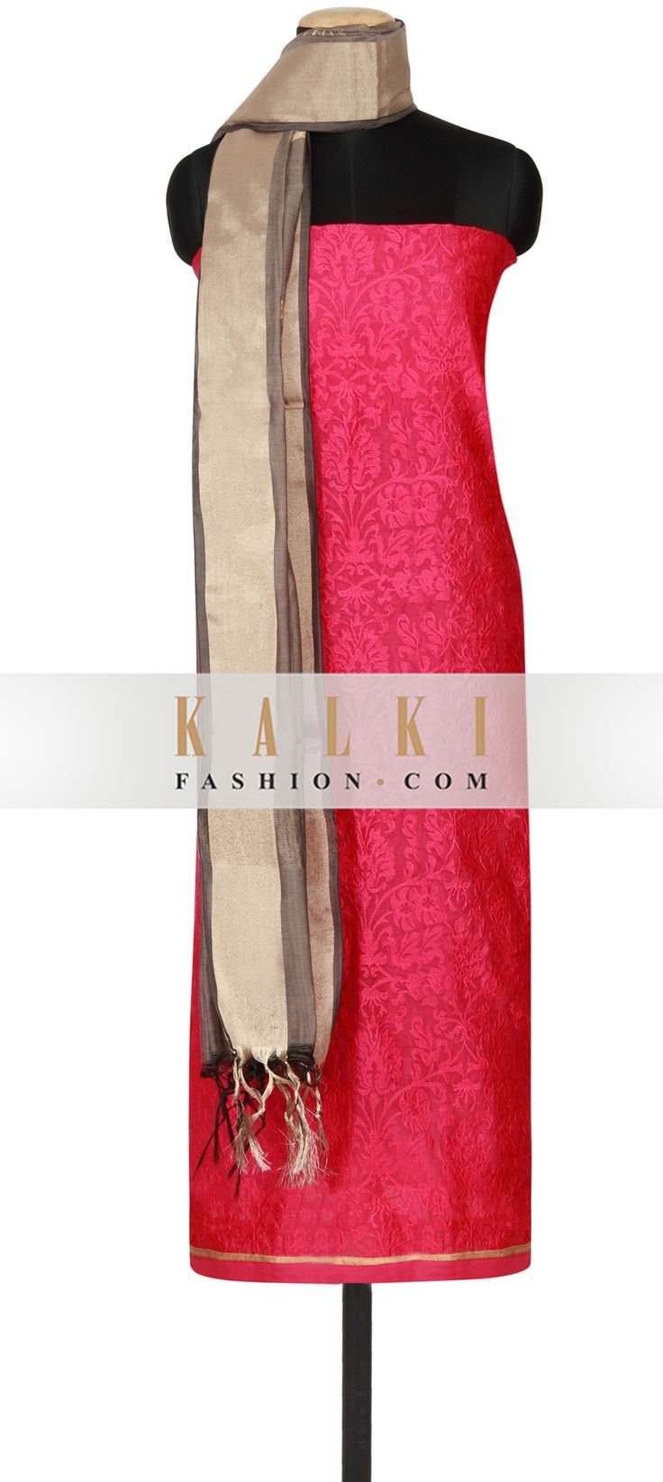 Get this beautiful Unstitched Salwar Kameez Collection http://www.kalkifashion.com/pink-chanderi-silk-un-stitched-salwar-kameez-embellished-in-thread-embroidery-only-on-kalki.html