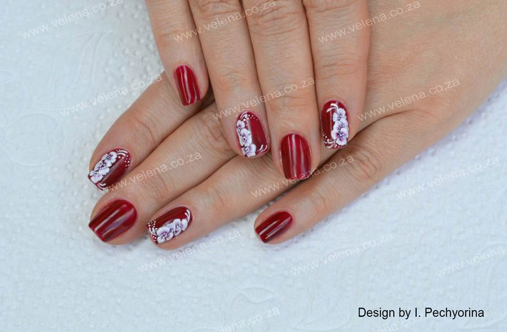 Another One-stroke design on natural nails. www.velena.co.za