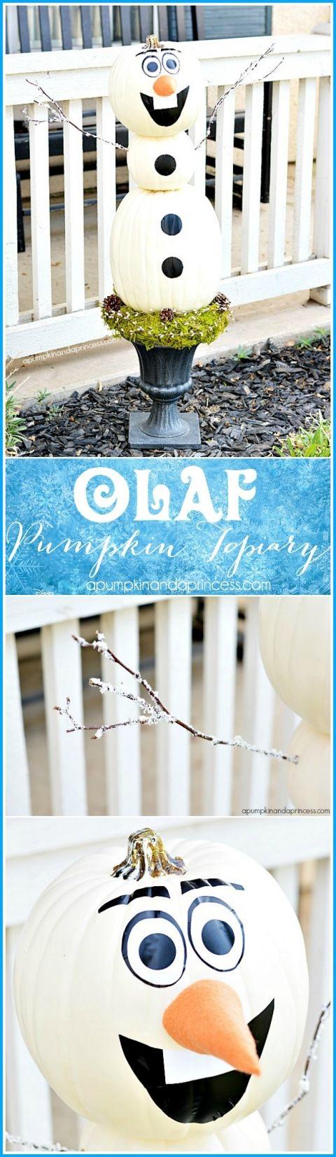 DIY Olaf Pumpkin Topiary