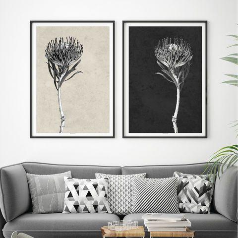 Set of 2 modern botanical art prints floral prints minimalist prints black and