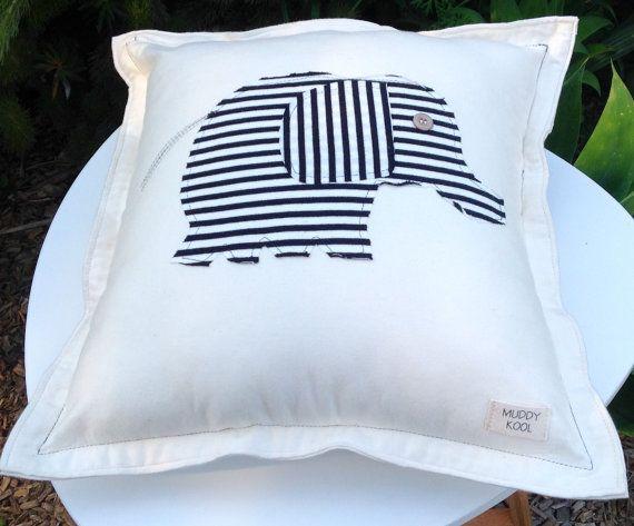Striped elephant organic cotton envelope by MuddyKoolDesigns