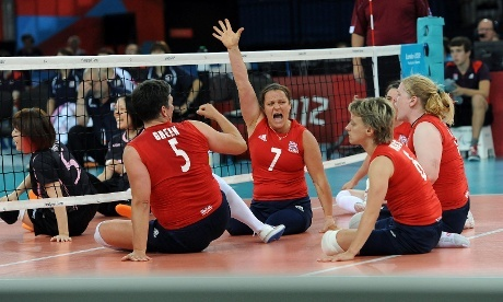 Great Britain's Martine Wright celebrates her team winning a point during their classification 7-8 match in the women's sitting volleyball event at the ExCel Arena