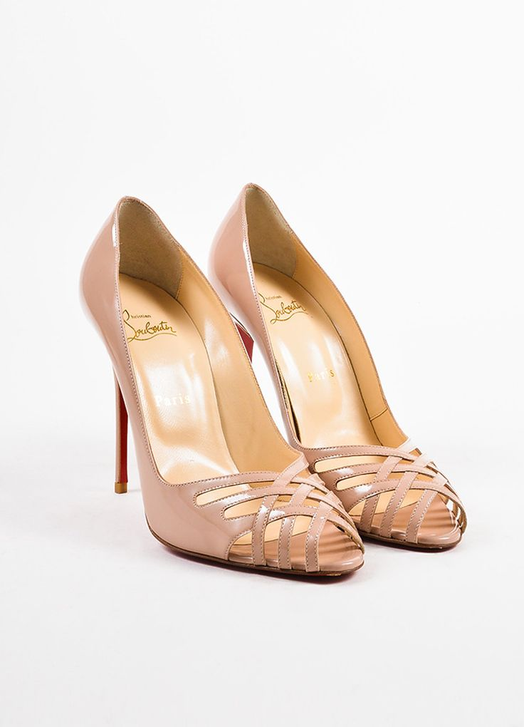 Christian Louboutin Nude Patent Leather Croizizi 100 Peep Toe Pumps – Luxury  Garage Sale