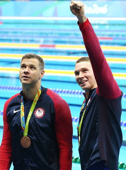 #RIO2016 Bronze medalist David Plummer and Gold medalist Ryan Murphy of the USA at an award ceremony for the men's 100m backstroke event at the 2016 Summer...