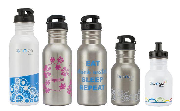 Met eenTapnGo waterfles (vanaf € 12,95) koop je minder afval. Deze mooie flessen zijn na te vullen met kraanwater en andere (koude) dranken.