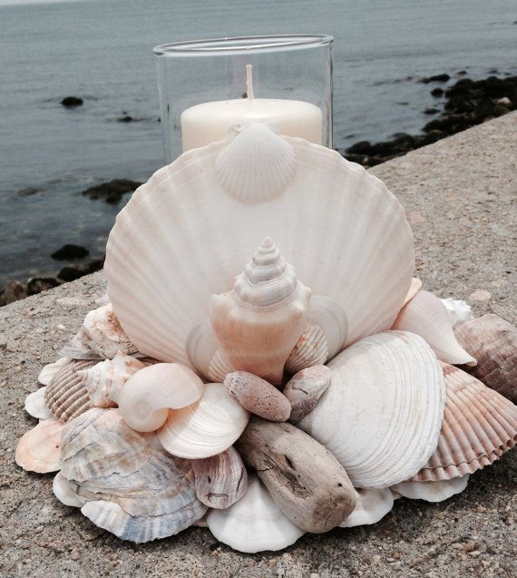 Beach Decor  Nautical Centerpiece  Shell Wreath by JJIlluminations