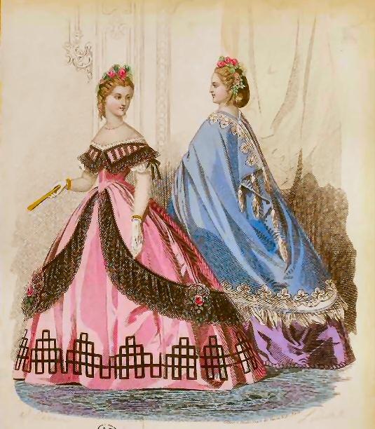 1862 Fashion Plate with pink dress/black lace and purple dress/blue cape