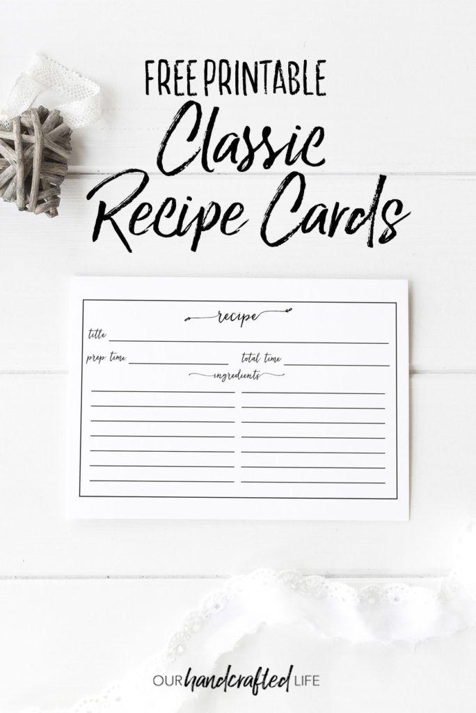 Free Printable Vintage Farmhouse Recipe Cards Our Handcrafted Life Recipe Cards Printable Free Diy Recipe Cards Recipe Cards