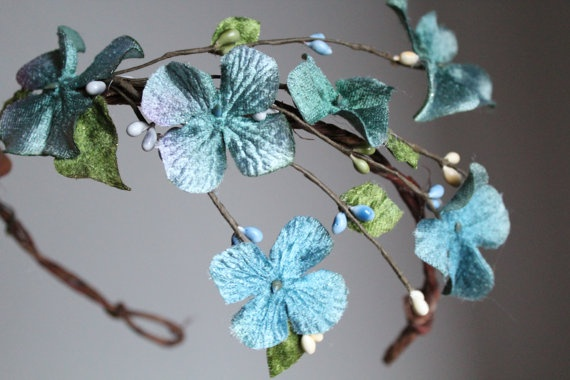 blue hair wreath