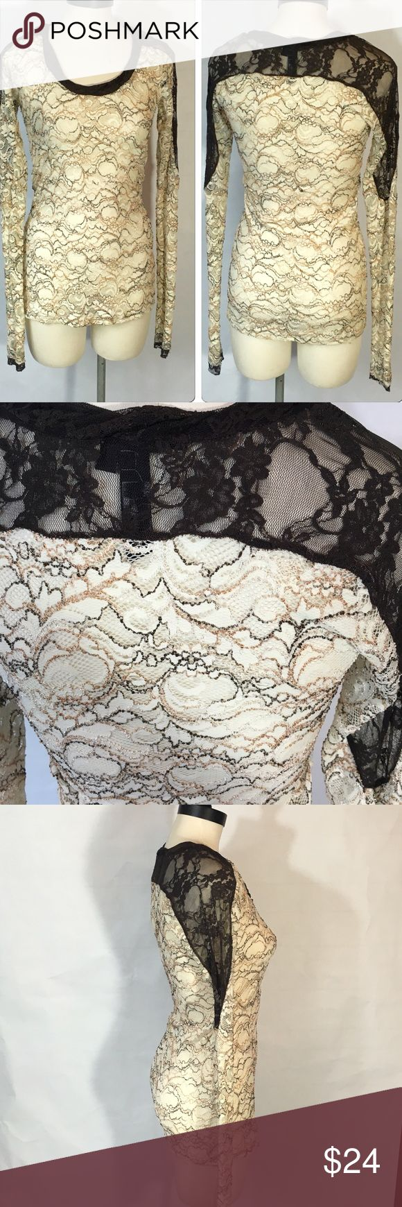 Bke Boutique Lace Top Buckle BKE Boutique  All over stretch Lace Top  Cream/Brown  Size L  EUC  Extra long sleeves Very fitted  The cream is a thicker lace  The brown is a thinner sheer lace.  Seriously gorgeous on!  I layered with a brown Cami underneath To make the cream details pop! 😍 BKE Tops Blouses