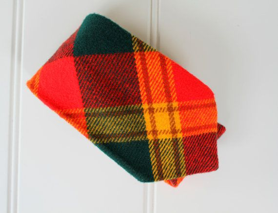 Vintage Plaid Tie  Tartan Plaid  Red Green Yellow by catnapcottage