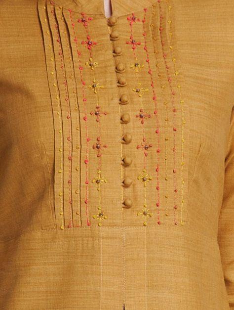 Mustard Mandarin Collar Thread Embroidered Matka Silk Kurta