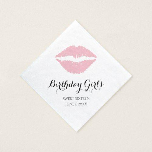Pale Pink Lipstick Sweet Sixteen Birthday Party Paper Napkin