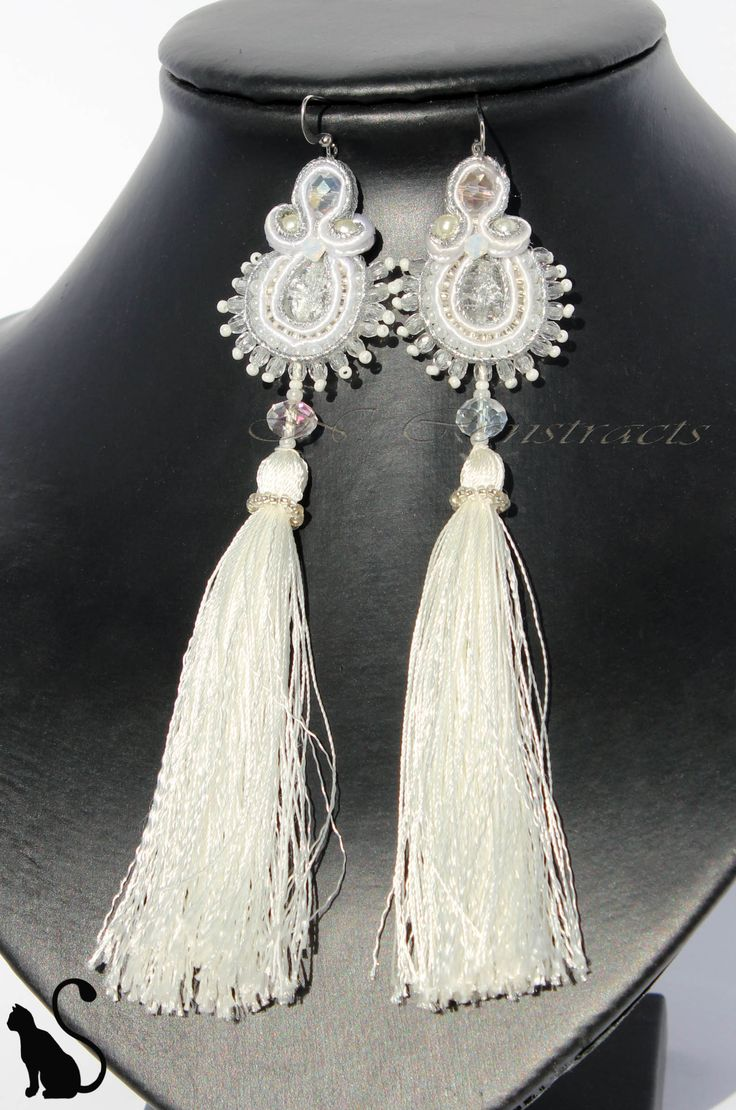 "4. Earrings ""Crystal"" Material: crystal beads, soutache, beads"