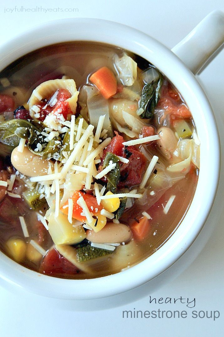 Best Minestrone Soup EVER! The ultimate italian soup!| www.joyfulhealthyeats.com #comfortfood #soup #fall #vegetarian