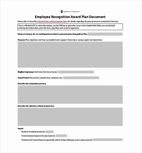 Employee Recognition Nomination Form Template In 2020 Employee