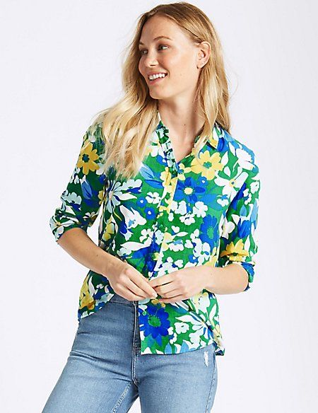 W2018  Pure Modal Floral Print Long Sleeve Shirt