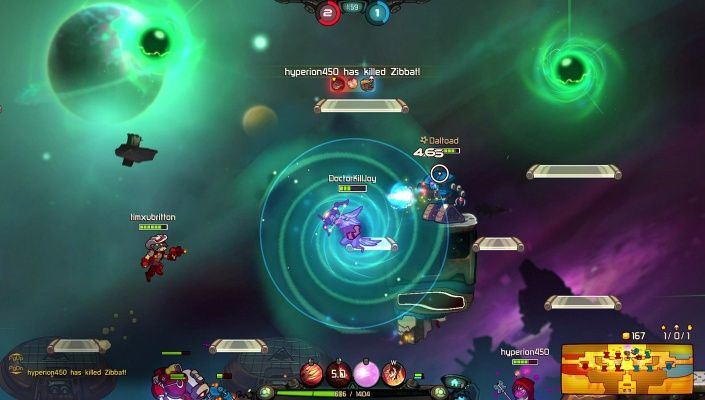Awesomenauts is a Free 2 play 2D sidescrolling MOBA Shooter Multiplayer Game where two teams of three intergalactic mercenaries try to destroy each others base