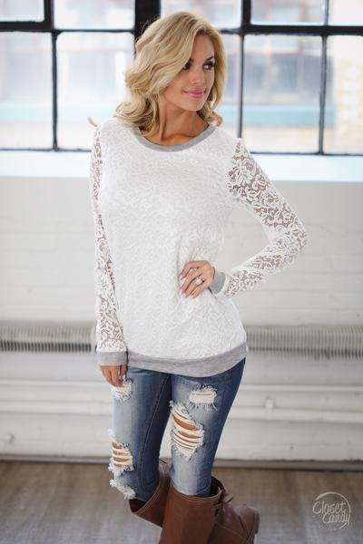 Grace In Lace Top - White