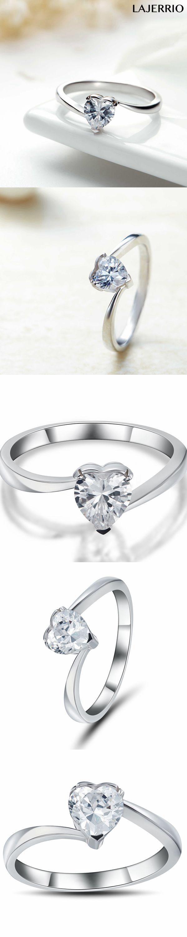 Lajerrio Jewelry 0.5CT Heart Cut White Sapphire S925 Engagement Ring