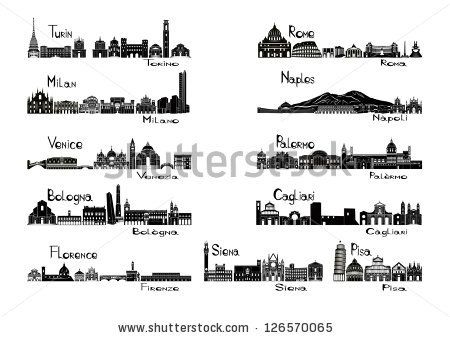 Silhouette sights of 11 cities of Italy  - Turin; Milan; Venice; Bologna; Florence Rome; Naples; Palermo; Cagliari; Siena; Pisa. - stock vector