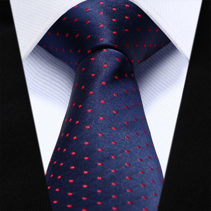 "TZD03R6 Red Blue Polka Dot Slim Narrow 2.6"" 100% Natural Silk Men Tie Necktie"