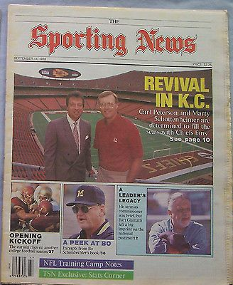 KANSAS CITY CHIEFS MARTY SCHOTTENHEIMER CARL PETERSEN 1989 SPORTING NEWS