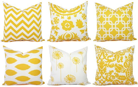 Yellow Throw Pillow Covers Yellow and White by CastawayCoveDecor