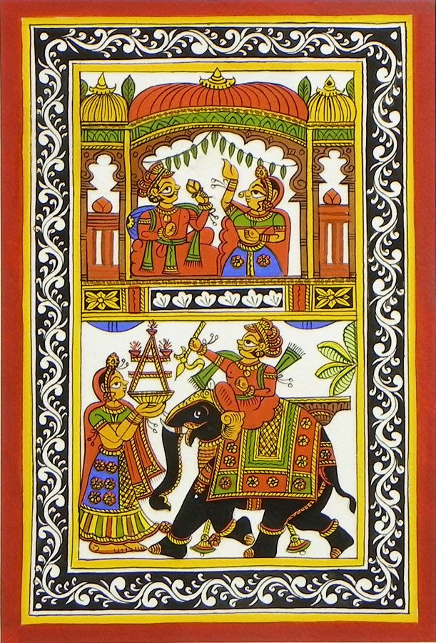 Royal Scenes from Rajasthan (Phad Painting on Cloth - Unframed)